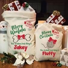 Personalised Pets Dogs Cats Santa Sack Christmas Xmas Bag Stocking Treats Gifts