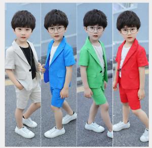 2PCS Kids Gentlemen Boys Concert Party Suit Coat+Pants Cotton and linen Outfits