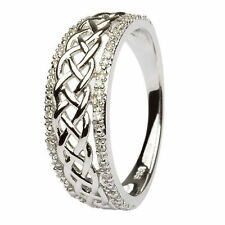 Ladies 14k White Gold Celtic Knot Diamond Ring JP20wd All Sizes Made in Ireland