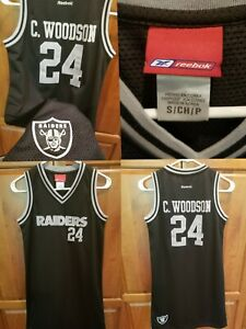 Charles Woodson Oakland Raiders Vtg NFL Jersey Dress Black Silver Size Small