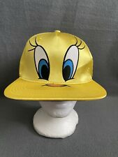 Yellow  Looney Tunes Tweety Bird Big Face Satin Baseball Snapback cap