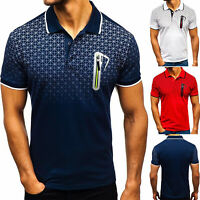 Men Slim Fitness Polo Shirts Short Sleeve Casual Golf T-Shirt Sports Jersey Tops