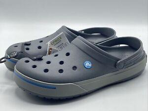 NEW Crocs CrocBand II Gray Blue White Clogs 11989 01W Men's Size 13