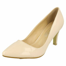 Ladies F9758 Patent Court Shoes by Anne Michelle Now Natural UK 6