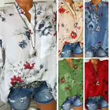 Womans Autumn Stand Collar Long Sleeve Flower Print Pocket Loose Shirt Blouse