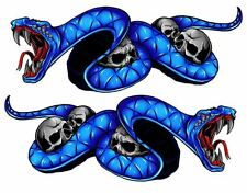 "Kawasaki Ninja 1000 650 ZX 300 ZX6R Snake BLue Motorcycle Stickers 5"" Decals set"