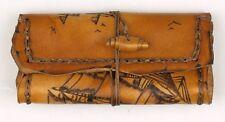 Original MR Drehertasche Leder braun antik Pyrografie Segelschiff handgearbeitet