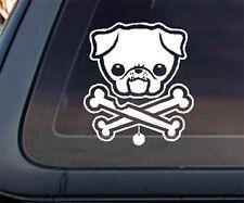 PUG Dog w/ Bone Car Decal / Sticker - White