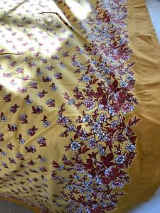 """Noble Excellence 100% Cot Tablecloth 70"""" X 108"""" Vivid Yellow w/red&white Flowe"""