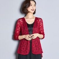 Lace Shawl Cardigan Women Summer Casual Long Sleeve Open Thin Knitted Sweater