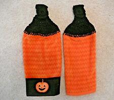 Crocheted top kitchen towels- Orange Ripple Fall-Halloween Towels