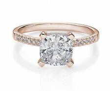 Cubic Zirconia Solitaire with Accents Rose Gold 14k Engagement Rings