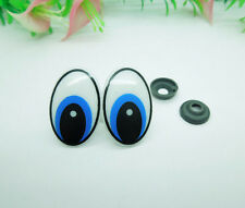 50Pcs 30*20mm Oval Blue Safety Plastic Eyes for Amigurumi Puppets Dolls Crafts