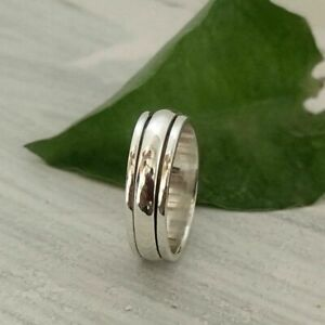 925 Sterling Silver Spinner Statement Minimalist Anxiety Ring Size-10 PO01