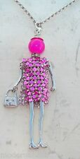Bambola Collana vestito di strass,perla,Donna,bambolina,necklace doll,rosa