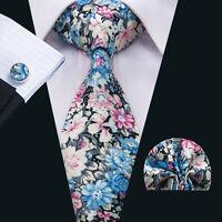 SN-1378 Mens Tie Blue Floral Cotton Necktie Cufflinks and hanky Wedding Party