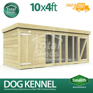 Dog Kennel & Run 10ft x 4ft Fully Pressure Treated Tanalised Timber Free Deliver