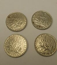 4 x monedas de un franco-Francia 2 X 1961, 1 X 1962, 1 X 1965