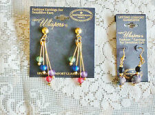 2 LOT NEW WHISPERS GOLD TONE DANGLE PIERCED EARRINGS FOR SENSITIVE EARS