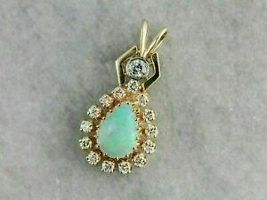 3Ct Pear Cut Fire Opal & Diamond Halo Pendant 14K Yellow Gold Over 18 Free Chain