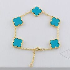Bracelet  Trèfle Cinq Lucky Fleur Doré Acier Inox Porcelaine Bleu 13mm TRB1