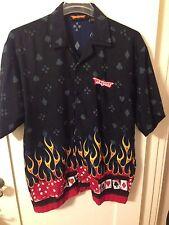 New Mens Discount Custom Apparel Las Vegas Casino Cards Flames Dice Camp Shirt L