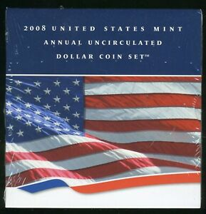 Unopened 2008 United States Mint Annual Uncirculated Dollar (3) Coin Set CP620