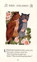Sir Screech Owl 1912 Vintage Bird Children Art Print by M T Ross
