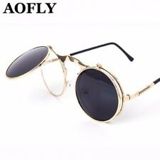 Aofly Women's Vintage Steampunk Sunglasses Round Metal Designer Coated Glasses