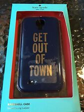 """NEW KATE SPADE Samsung Galaxy S4 Hardshell Case """"Get Out Of Town"""" Navy/Gold NIB"""