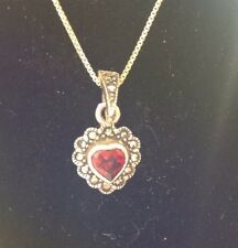 ".925 Sterling Silver ""Dark Red Stone Pendant With 18"" SS Chain""."