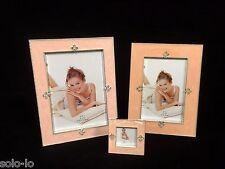 """3 x Photo Picture Frame  2"""" x 2"""" & 4"""" x 6"""" & 5"""" x 7"""" Enamel Incarnadine Pink New"""