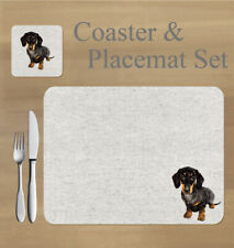 Dachshund,  Danny, placemat and coaster set    by Jane Bannon