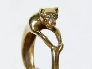 Vintage 9ct Gold Diamond Eyes PANTHER RING. Sz L.1/2, 4.3gms Hmkd 1988 #RBB