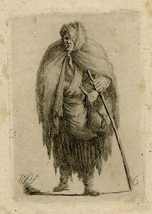 Antique Master Print-GENRE-BEGGAR-WOMAN-STICK-Plonski-1802