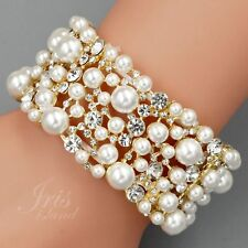 18K Gold Plated Pearl Clear Crystal Wedding Bangle Cuff Stretch Bracelet 09806
