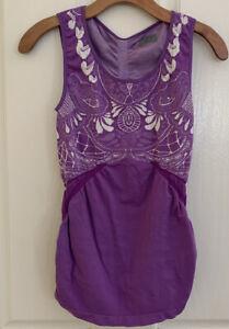 ATHLETA TATTOO SEAMLESS Purple Floral Tank TOP WOMEN'S SIZE L