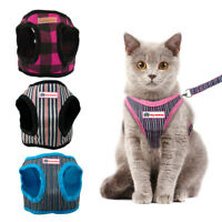 Stripes Escape Proof Cat Harness and Leash for Walking Small Dog Puppy Mesh Vest