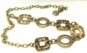 Gold Black & Silver BOHO Chico's Hippie Festival Adjustable Chain Geometric Belt