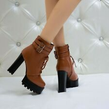 Women's Ankle Boots High Heels Round Toe Side Zip Platform Shoes Strappy Booties