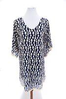 Umgee Embroidered Lace Tunic Dress Kimono Bell Sleeve Boho Ivory Blue Sz Medium