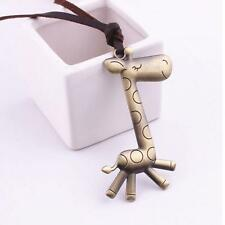 Animal Jewelry Long Necklace Giraffe Bronze Pendant Leather Chain
