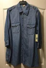 036d07a49e5 Reba Plus Size 1x Classic Long Denim Button Down Shirt Retail