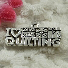 Free Ship 50 pieces Antique silver i love quilting charms 24x12mm #1414