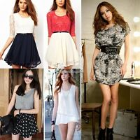 New Womens Chiffon Pleated Sexy Skater Sleeveless Ladies Mini Dress