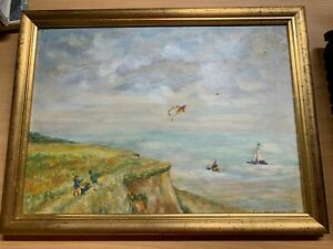 """1938 J DAVIDSON """"KIDS FLYING A KITE ON A CLIFF BY THE SEA"""" OIL PAINTING (P5)"""