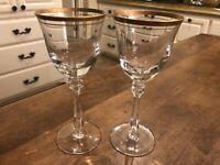 Set of 2 - Mikasa EMPIRE (GOLD TRIM) Wine Glass 359435 Excellent