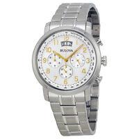 Bulova Men's Quartz Chronograph Gold-Tone Numerals Silver-Tone 42mm Watch 96B201
