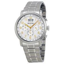 Bulova Men's 96B201 Quartz Chronograph Gold-Tone Numerals Silver-Tone 42mm Watch
