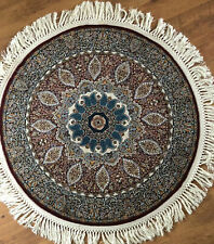 Authentic Traditional Rug Rare Handmade Round Imported Carpet Red Blue
